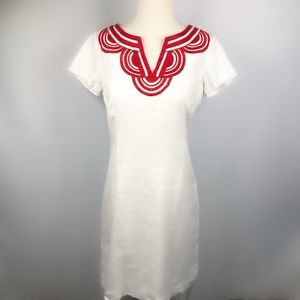 Boden Linen Embroidered Cap Sleeve Shift Dress
